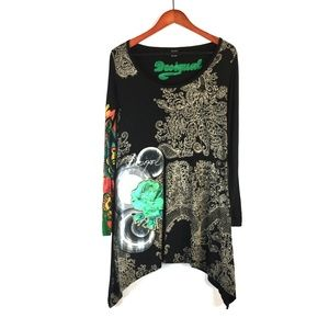 Desigual floral print graphic top or dress XL